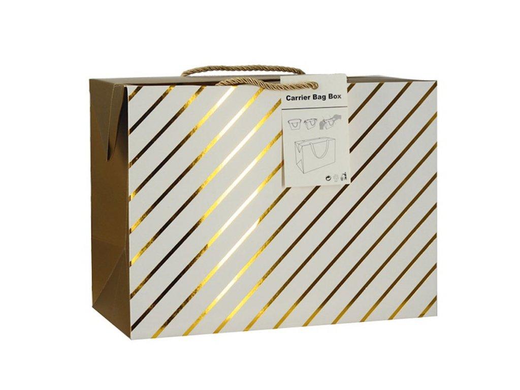 Dárková taška uzavíratelná L 27x20x13 cm se zlatými proužky