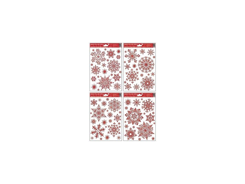 Okenní fólie vločky sněhový efekt červená,27x20cm