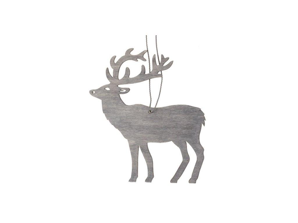 Jelen dřevěný závěsný 10 cm, šedá
