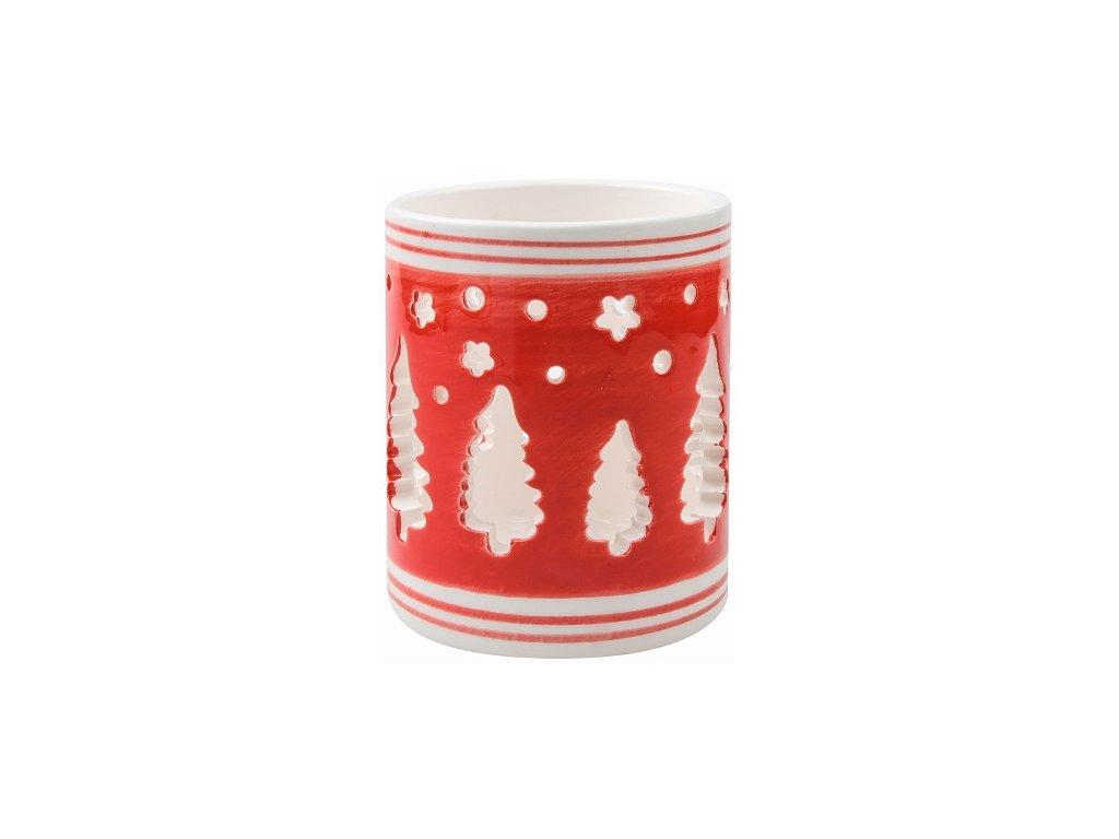 Svícen keramický červenobílý se stromečky 9 cm