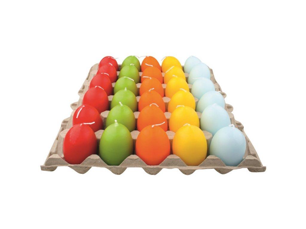 Svíčka vejce 45 x 60 mm, mix 5 barev, 30 ks