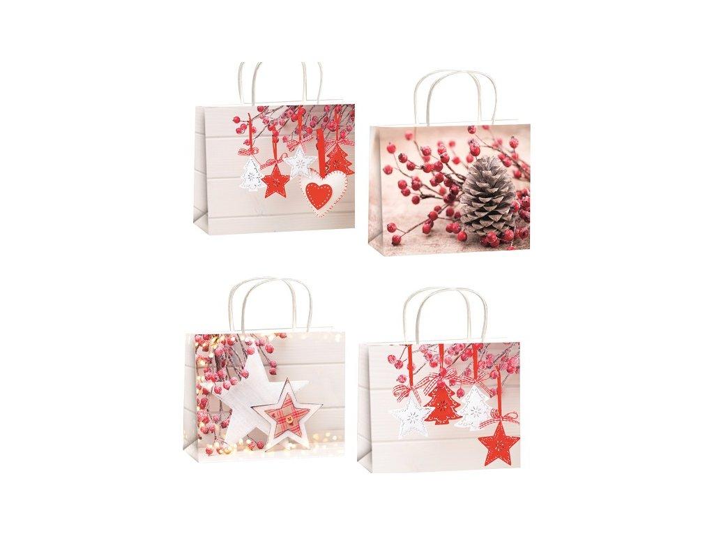 Taška vánoční dárková s glitry L horizont 32x26x12,7cm