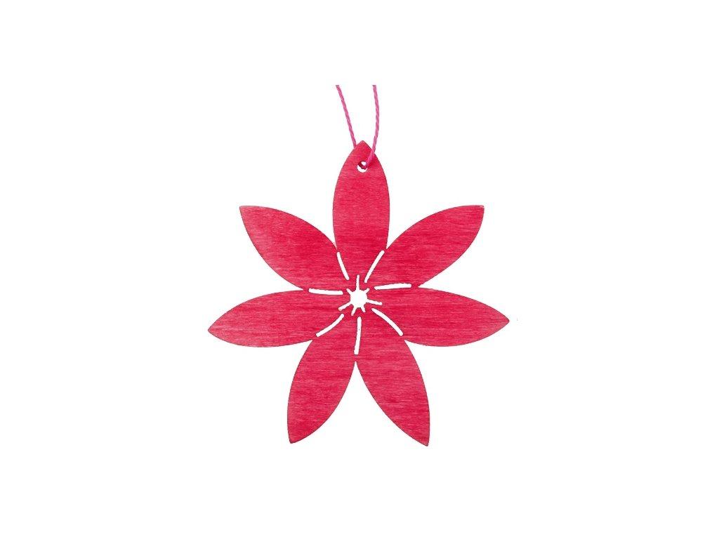Dřevěný květ na zavěšení, růžový 8 cm