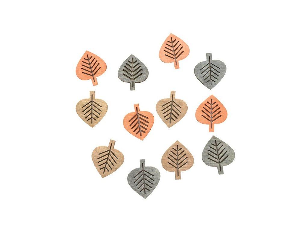 Dřevěné listy přírodní 4 cm, 12 ks