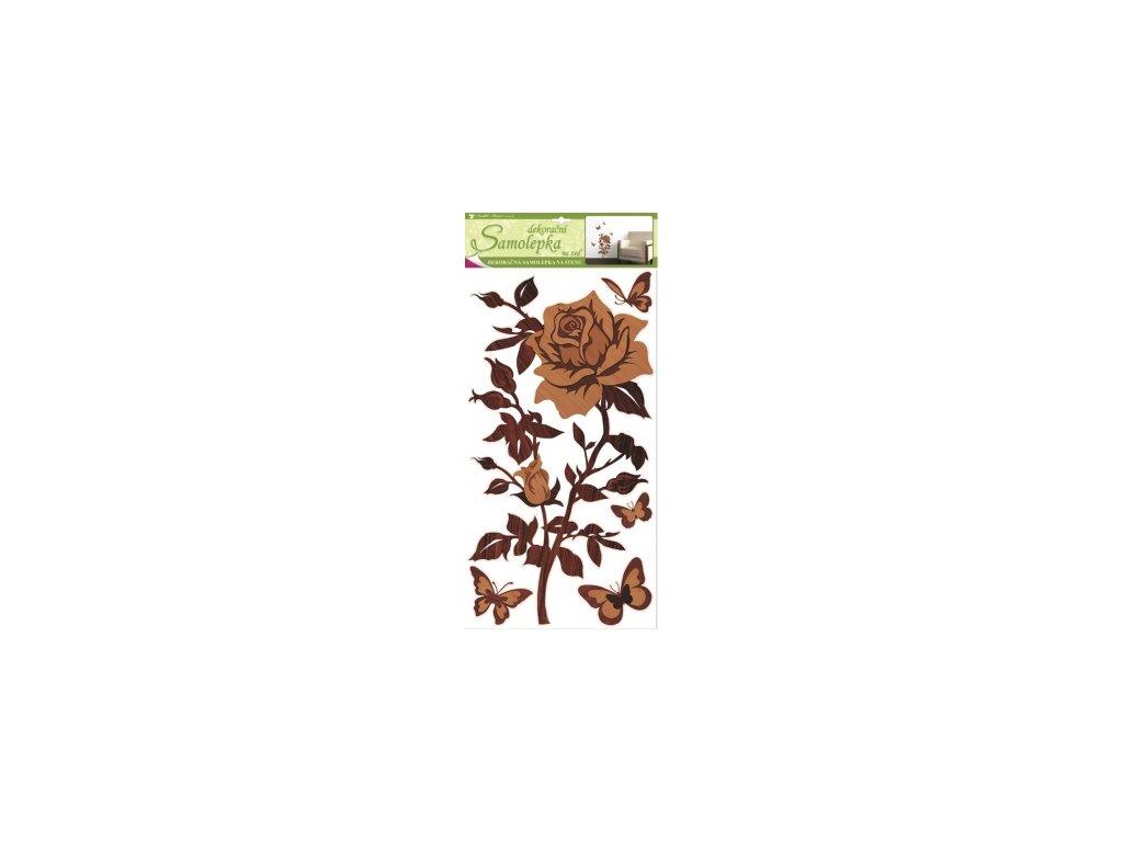Samolepky na zeď růže s imitací dřeva, 60x32 cm
