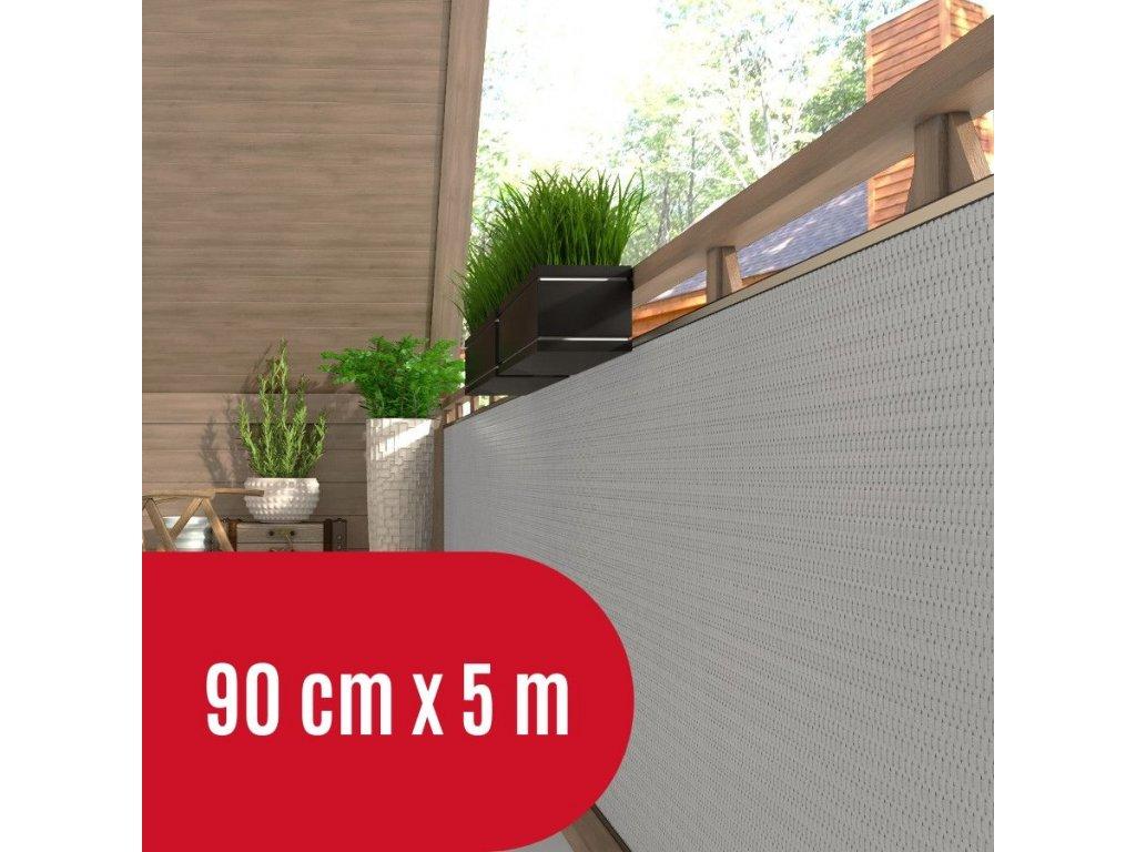 Zástěna na balkon ratanová, výška 90 cm - balení 5 m, barva světle šedá RD17