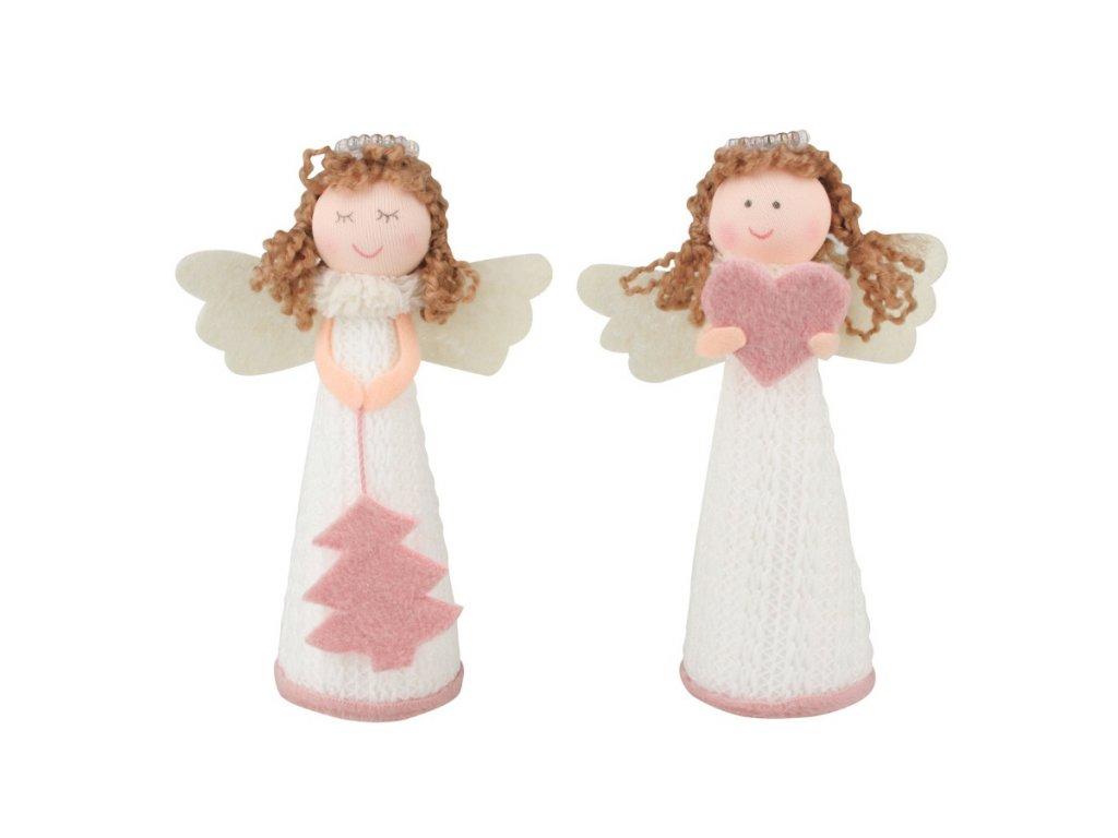 Anděl pletený bílý s růžovými doplňky 13 cm