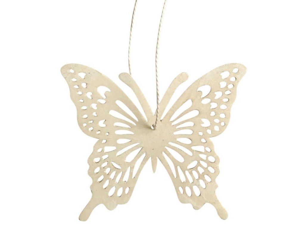 Dřevěný motýl na zavěšení 8 cm, bílý