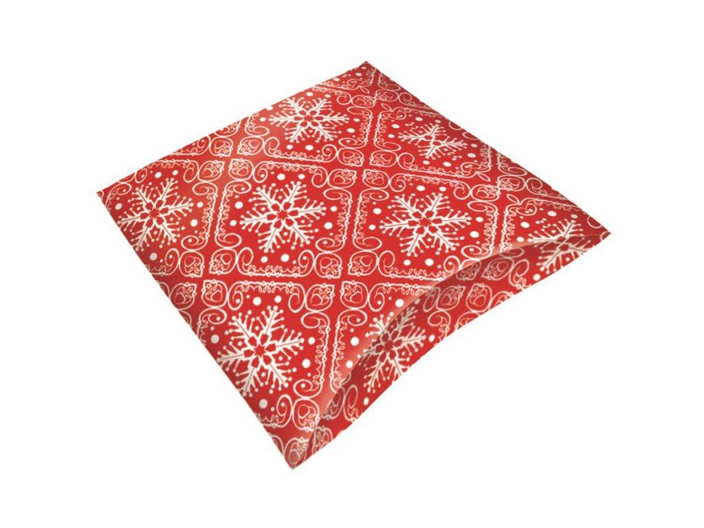 Krabička skládací dárková červená 16 x 12 x 3,5 cm