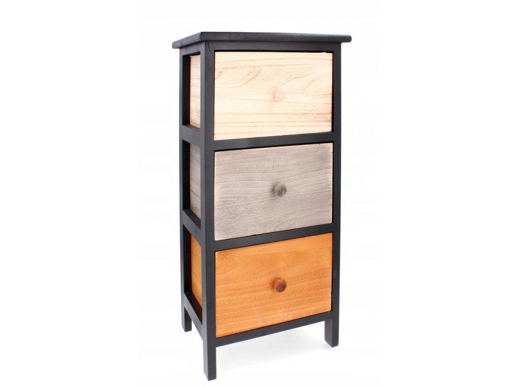 Dřevěná komoda se 3 různobarevnými šuplíky 30 x 23 x 61,5 cm