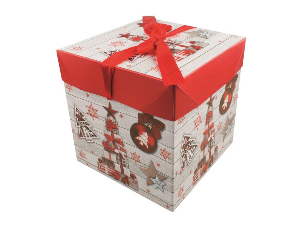 Dárková krabička skládací s mašlí M 16,5x16,5x16,5 cm
