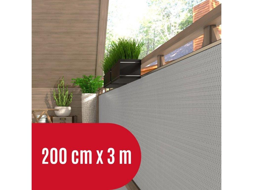 Zástěna na balkon ratanová, výška 200 cm - balení 3 m, barva světle šedá RD17