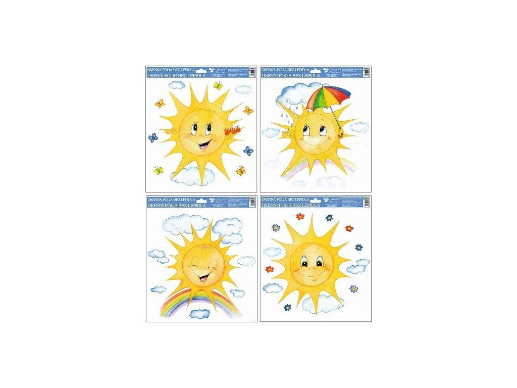 Okenní fólie ručně malovaná sluníčka 30x30 cm