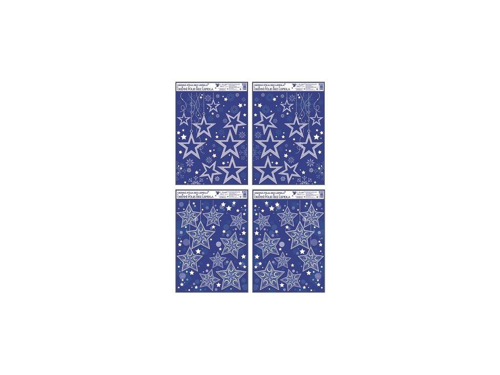 Okenní fólie rohová s glitrem a sněhovým efektem hvězdy 38x30 cm