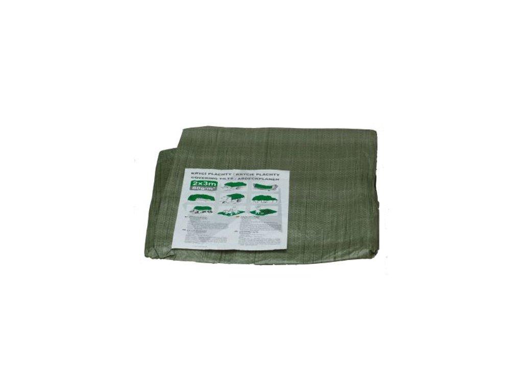 Krycí plachta s kovovými oky zelená - standard - rozměr 2 x 2 m