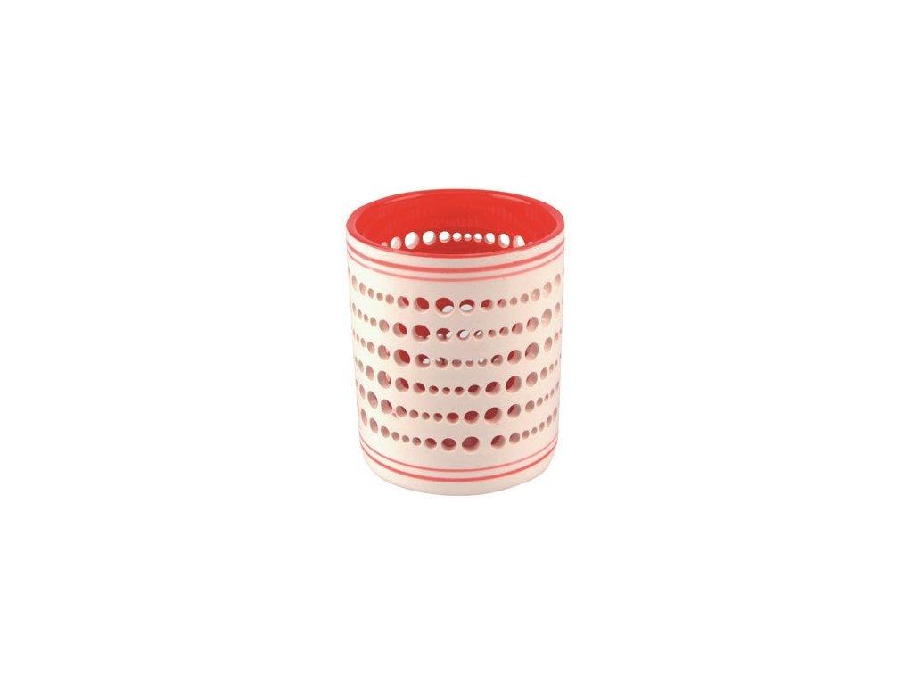 Svícen keramický bíločervený 9 cm