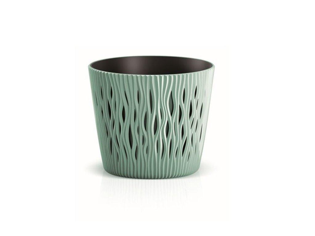 Květináč plastový SANDY ROUND průměr 19 cm - barva zelená 623U