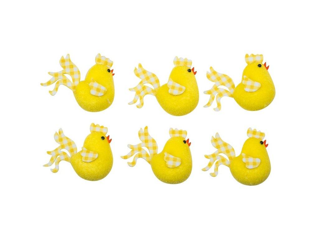 Kuřátka žlutá s karečkovými křídly 5,5 cm, 6 ks