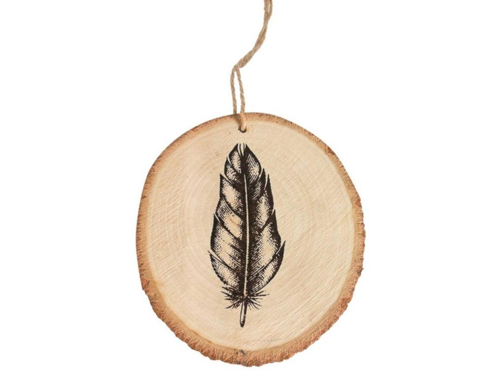 Dřevěná dekorace na zavěšení 10 cm, s pírkem