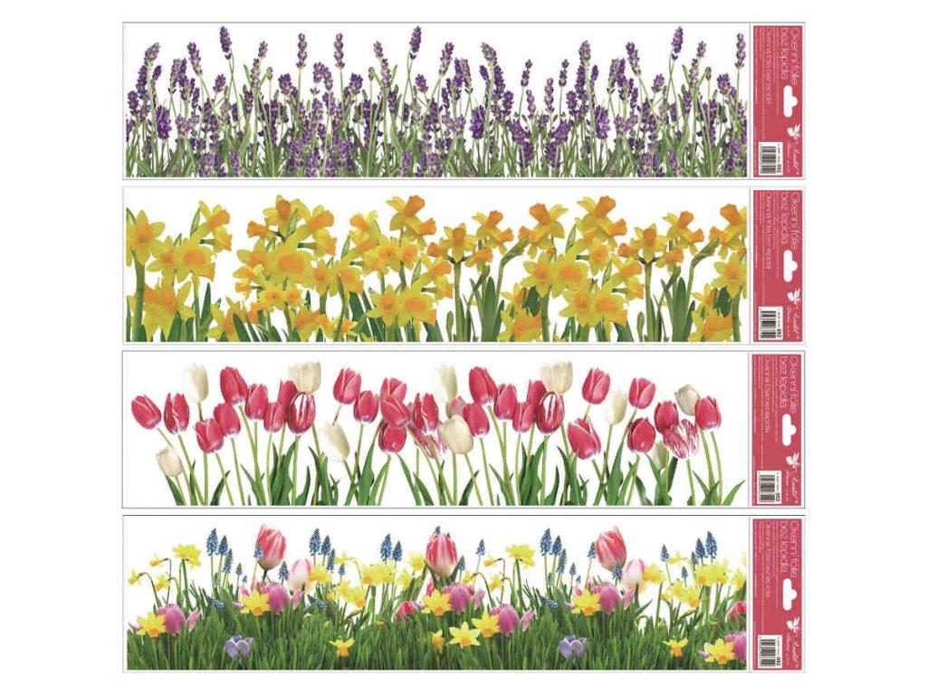Okenní fólie pruhy květiny 64x15 cm