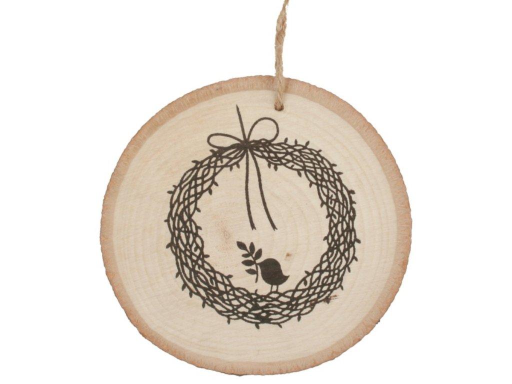 Dřevěná dekorace na zavěšení 10 cm, s věnečkem