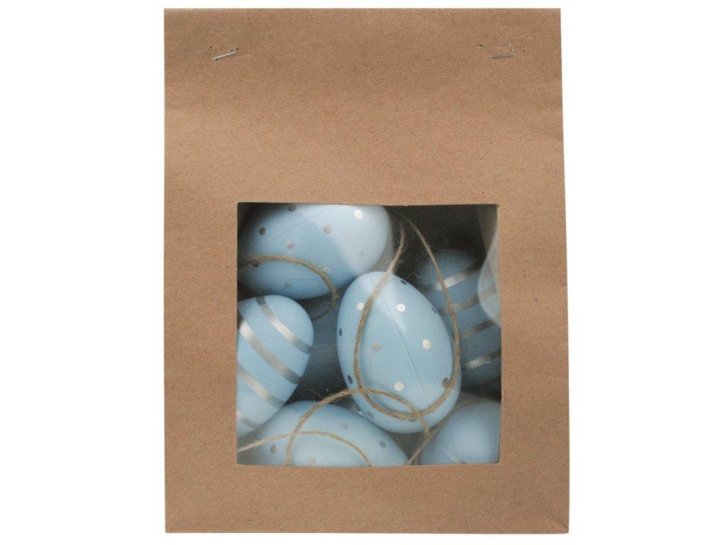 Vajíčka stříbrně zdobená plastová na zavěšení 6 cm, 9 ks v papírovém sáčku