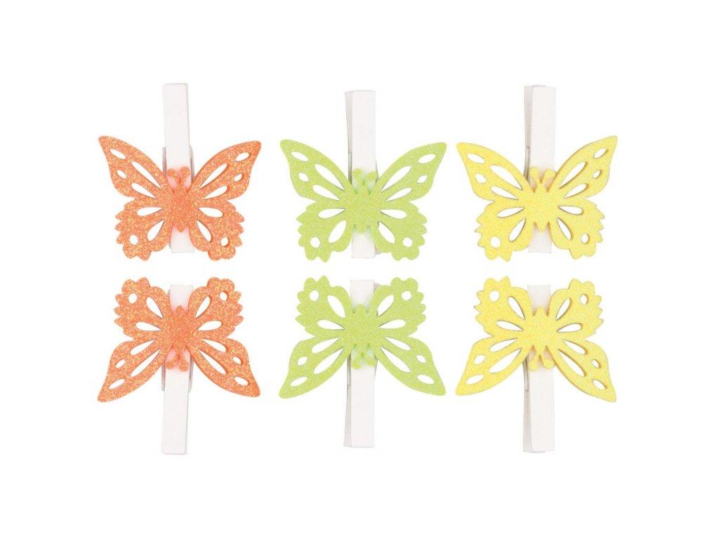Motýlci s glitry na kolíčku 5 cm, 6 ks v sáčku