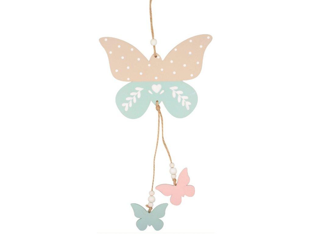 Motýlek dřevěný k zavěšení 28 cm