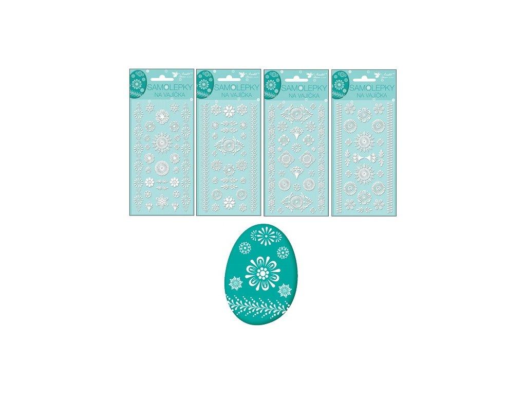 Samolepky velikonoční gelové bílé 19 x 9cm