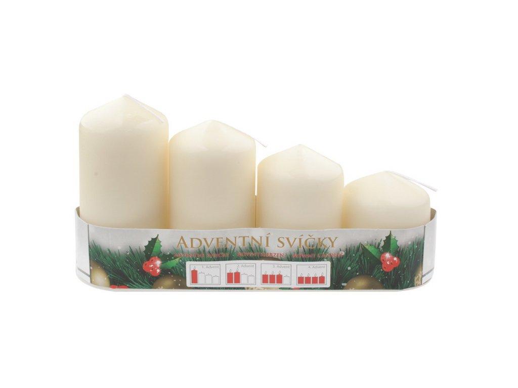 Adventní svíce válec krémová postupka 50, 75, 90, 105 x 60 mm, 4 ks