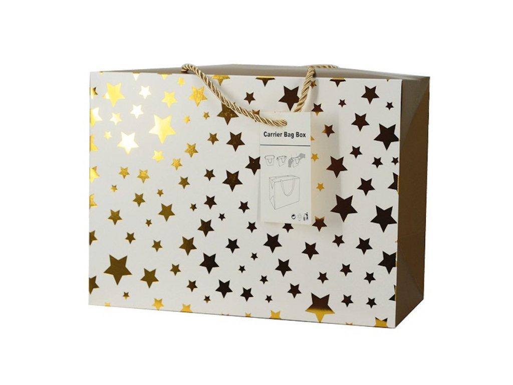 Dárková taška uzavíratelná M 23x16x11 cm se zlatými hvězdičkami
