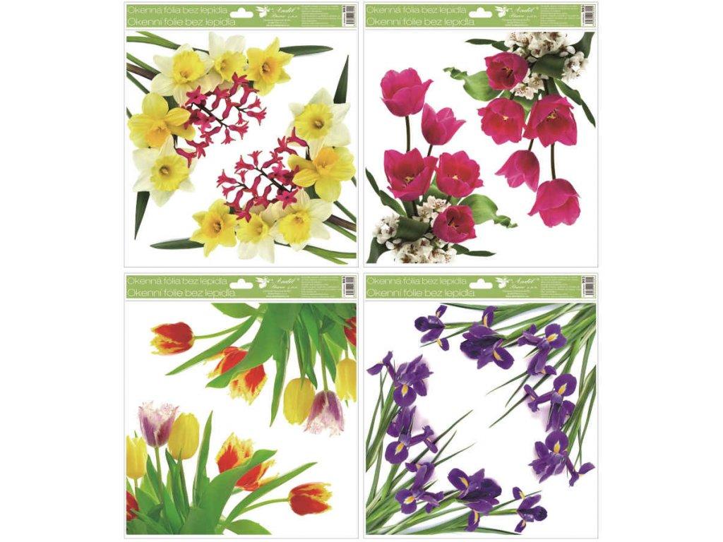 Okenní fólie rohová květiny s glitry, 30x33,5 cm