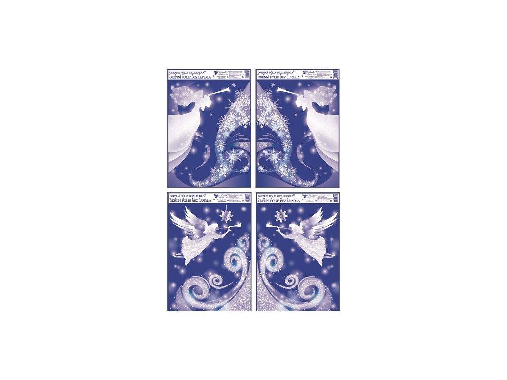 Okenní fólie rohová s glitrem anděl 38x30 cm