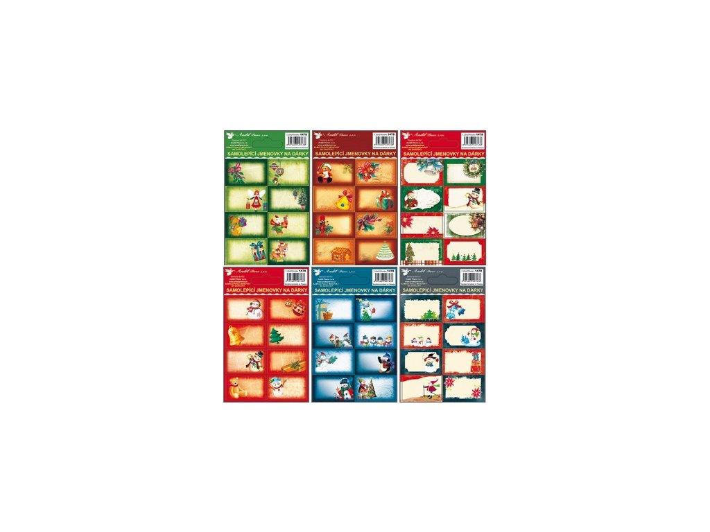 Samolepicí jmenovky na dárky s ražbou 8 ks 13 x 8,5 cm, 8 ks