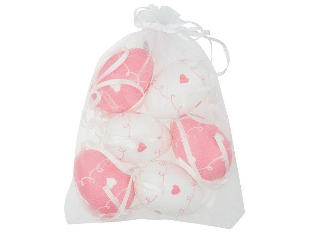 Vajíčka se srdíčky bílá/růžová plastová na zavěšení 6 cm, 6 ks v organze