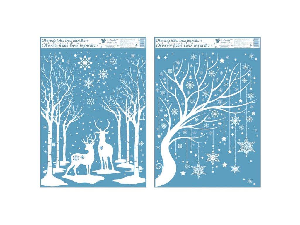 Okenní fólie s glitrem 50x35 cm, zimní stromy