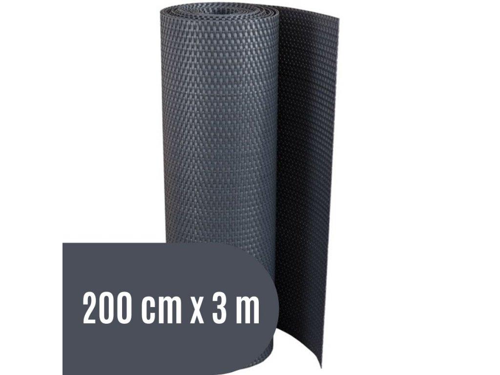 Zástěna na balkon ratanová, výška 200 cm - balení 3 m, barva tmavě šedá RD03