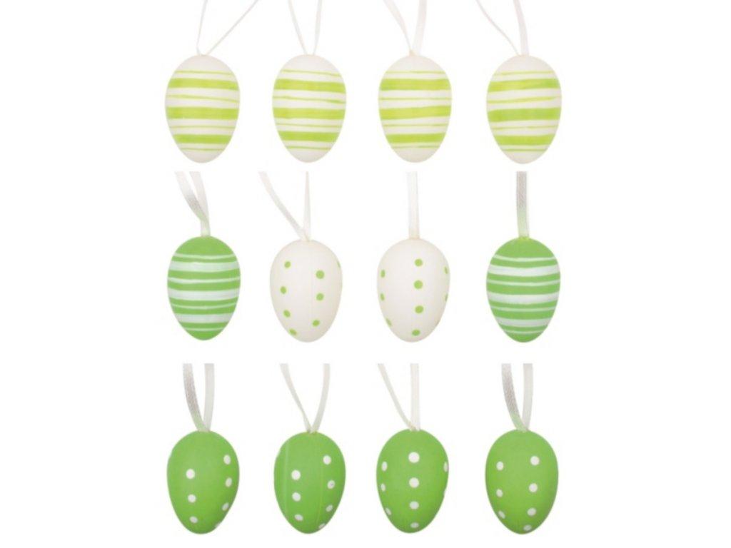 Vajíčka plastová zelená na zavěšení 4 cm, 12 ks v sáčku se 2 kytičkami