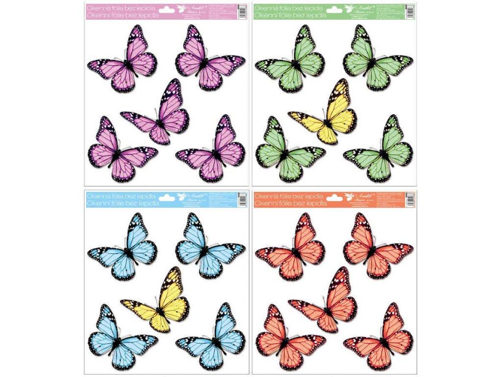 Okenní fólie s glitry motýli 30x33,5 cm