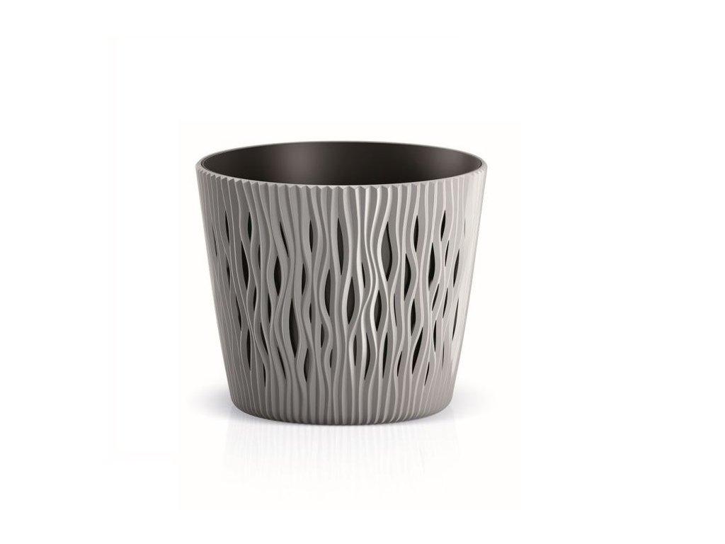 Květináč plastový SANDY ROUND průměr 26 cm - barva šedá 405U