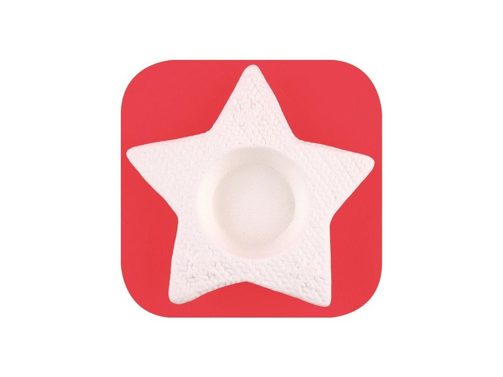 Hvězda z porcelánu na svíčku 12cm
