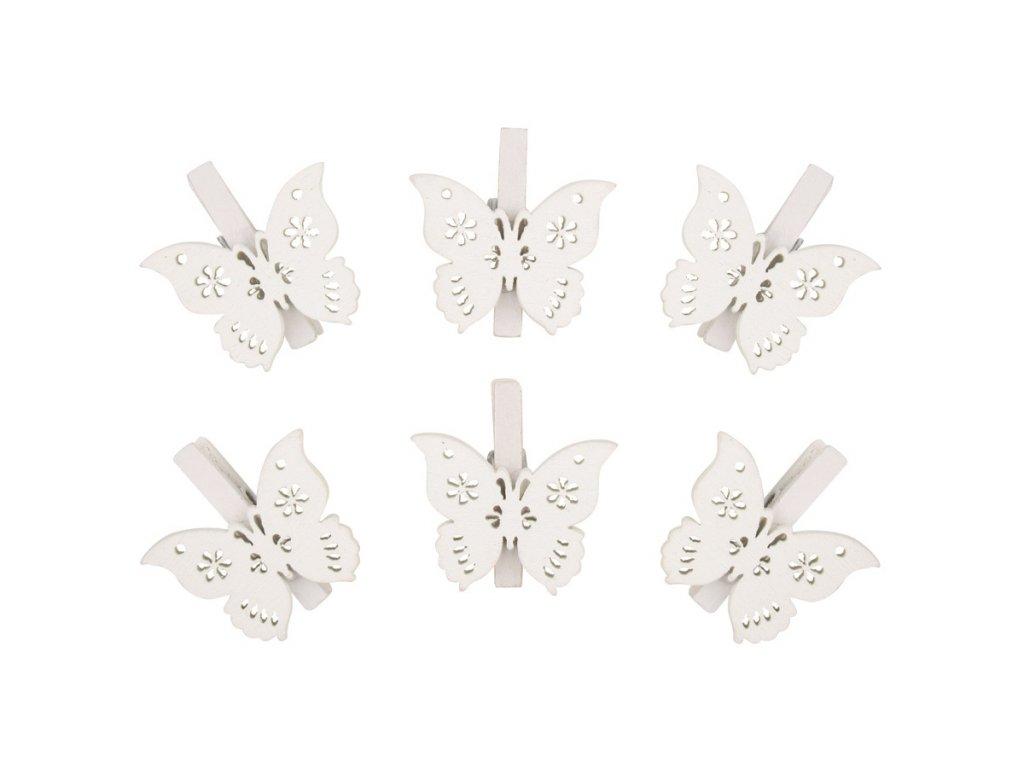 Motýl dřevěný na kolíčku 3 cm, bílý, 6 ks