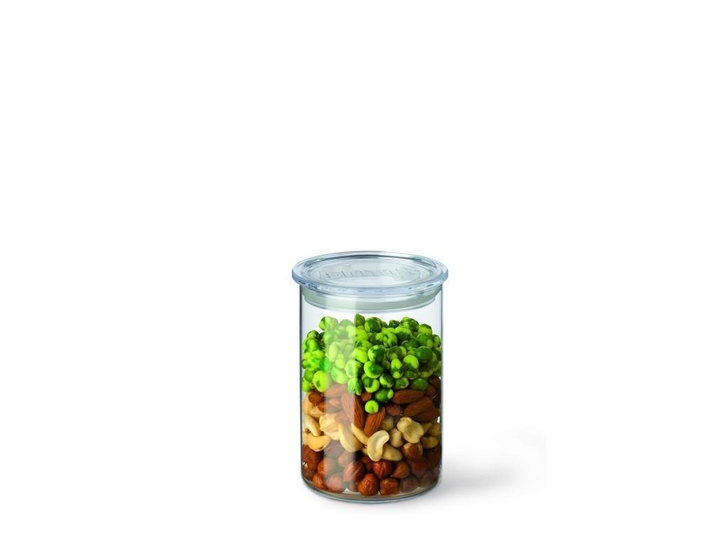 SIMAX dóza na suché potraviny skleněná s plastovým víčkem - doza 0,8 litrů, pr. 9,5cm, výška 14,5cm