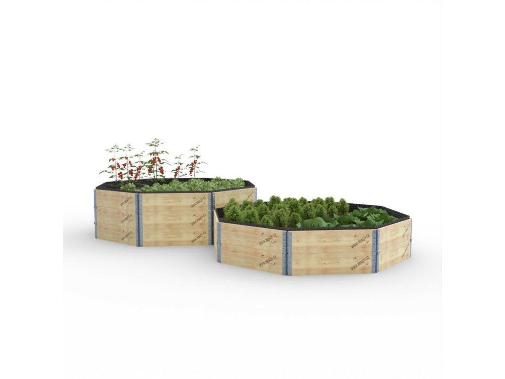 Vyvýšený záhon dřevěný - osmihran - délka stěny 74 cm