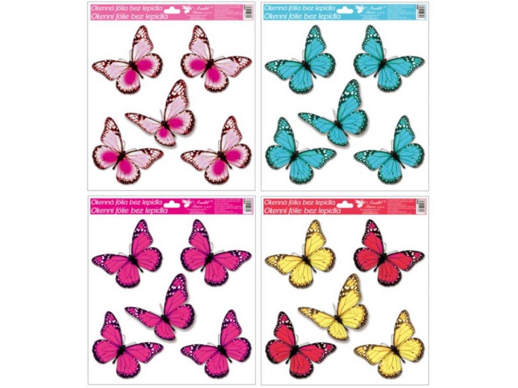Okenní fólie s glitry motýli 33x30 cm