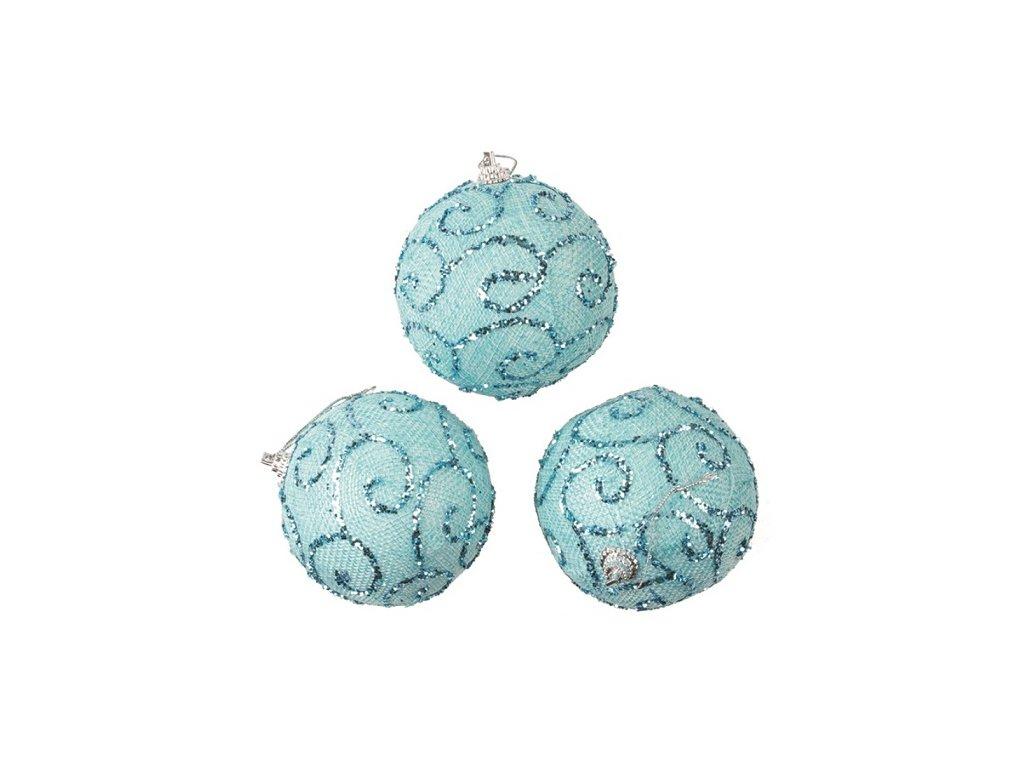 Baňky modré s glitry 8 cm, 3 ks