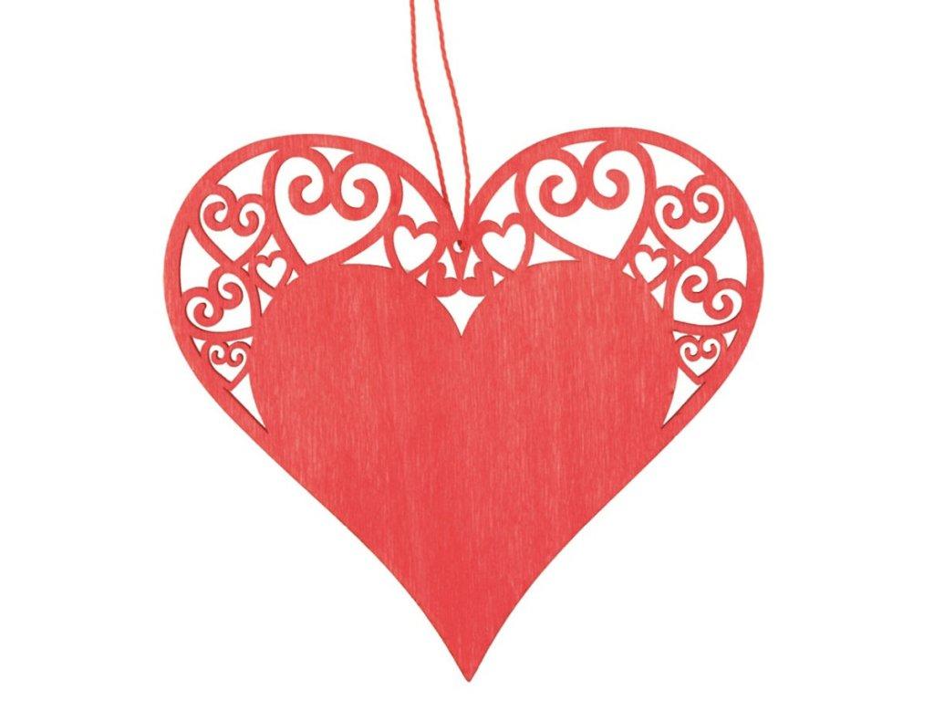 Srdce dřevěné na zavěšení 10 cm, červené