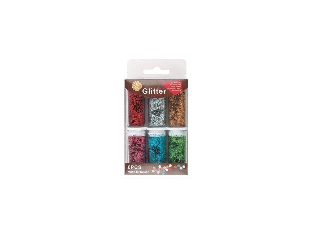Sypké glitry proužky 6 odstínů po 6 g
