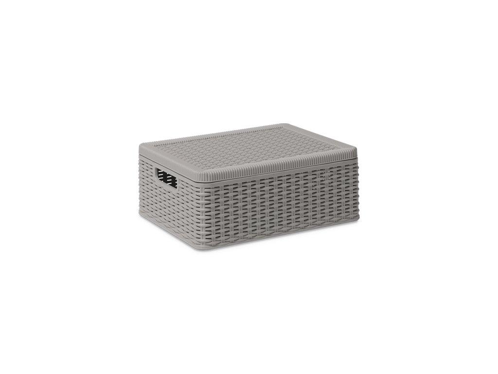 Box úložný s víkem DECORA 38 x 30 x 15 cm - barva šedá