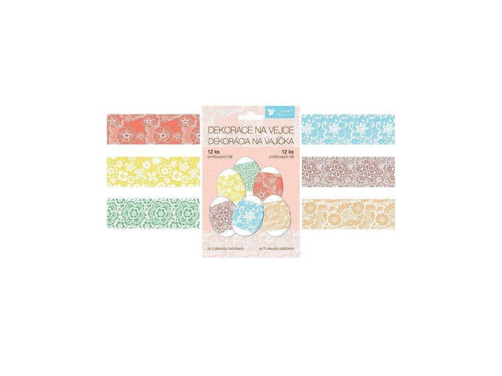 Smršťovací dekorace na vejce krajka, 12 ks